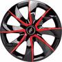 Jogo Calota Aro 13 Black Red Univerl Fiat/ford/gm/vw 4peças