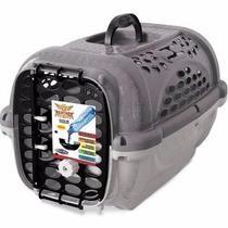 Caixa De Transporte Cor Cinza Para Cães Até 15kg Tamanho 3