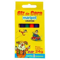Giz De Cera 06 Cores Maripel - 12 Unidades