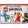 Kit Imprimible Ninjago Candy Bar Tarjeta Cumple Cotillon 2x1