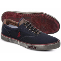 Tênis Polo Sneaker Masc. Azul Marinho E Vermelho Manchado
