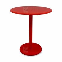 Mesa Decorativa De Canto Laqueada Mdf Uma Base Vermelha