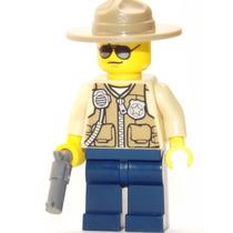 Lego Boneco Policial Florestal 2 Arma - City - Frete R$5,00