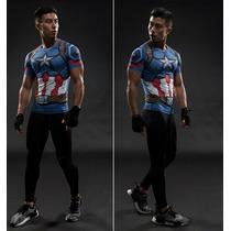 Capitão América Camiseta Camisa Mang Curta Cosplay Poliéster