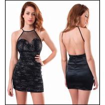 Vestido Drapeado Con Transparencia Y Espalda Abierta, M-0033