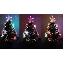 Arvore De Natal Fibra Otica E Estrelas Led Efeito Rgb 60cm