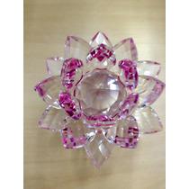 Flor De Lotus De Cristal Brilhante Com 9cm
