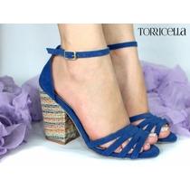 Sandália Azul, Nº 38 - Promoção! Coleção 2016 - Salto 9,5 Cm