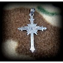 Pingente Crucifixo Gótico Pentagrama - Prata 925 - 4,5 Gr.
