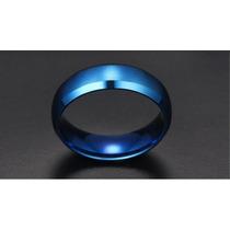 Anel Aliança Compromisso Aço Escovado Azul Leia O Anuncio