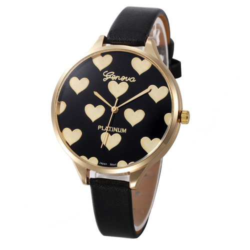 5d8f337f62a Relógio Feminino De Coração Pulseira Couro Delicado Instagra - R  45 ...