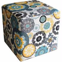 Puff Puf Quadrado Decorativo Tecido Floral Closset Sala