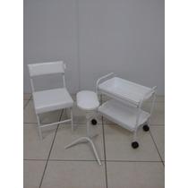 Kit Manicure Carro 2 Bandeja Bruno+1 Suporte+cadeira Baixa P