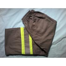 Calça Brim Elástico Uniforme Industrial C/ Fita Refletiva