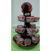 Torre Cupcake Star Wars Con Pirotines Muffin Cumple Bandeja
