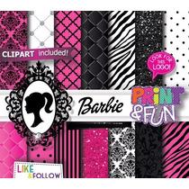 23 Itens Kit Digital Papéis Scrapbook Barbie P Adesivos Tags