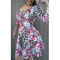 Vestido De Neoprene Lindo Onça E Flores Rosas Verão Sexy
