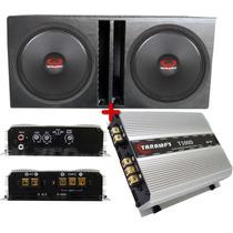 Caixa 2 Woofer Ultravox 15 220 + Amplificador Taramps T 500