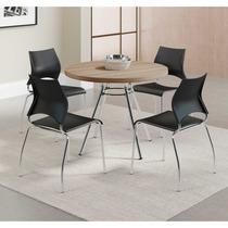 Cadeira Cromada Carraro Móveis Melissa 02 Unidades Preto