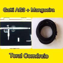 Aerógrafo Gatti Ag-3 + Mangueira Para Aerógrafo 1/4 X 1/8