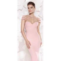 Moda Italiana Elegante Vestido Rosado Verano 2016 Pedrería