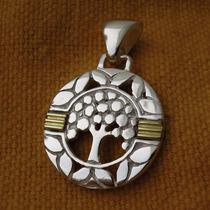 Dije Medalla Arbol De La Vida Clasico Plata 925 D61 Oro