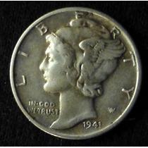 Moneda De Plata. 1 Dime 1941. Usa. Mercury. Cabeza Alada.