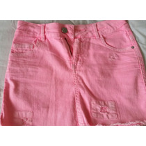 Mini De Jean Zara Rosa Fluo Impecable!!!!!!!!!!!!!!