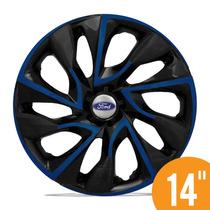 Calota Esportiva 14 Ds4 Preta Azul Para Ford Ka Fiesta Focus
