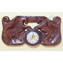 Relógio De Parede Cavalos Tropa Em Madeira Entalhada