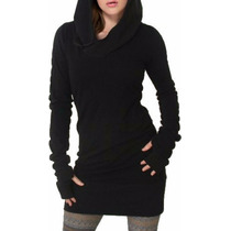 Sweater Hoodie Vestido Corto Lanilla Viuda Negra Dark Gotico