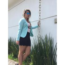 Blazer Casaco Colorido Feminino Com Botão Tecido Leve Verão