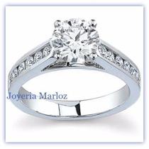 Anillo Compromiso Oro Blanco 14kt Diamante Ruso Envio Gratis