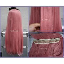 Aplique Tic Tac Cabelo Sintetico Rosa Pastel Pink 100g 60cm