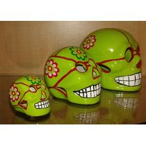 Figura Calaveritas Halloween Dia De Muertos Craneo 8 Cm Rosa
