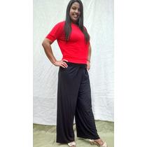 Calça Pantalona De Cós Em Viscolycra Plus Size Cintura Alta.