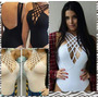 Body Feminino Tirinhas Decote Nas Costas Bojo Strappy Moda