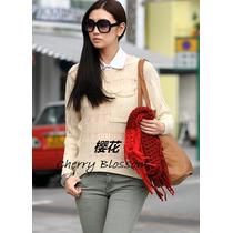 Sweater Sueter Tejido Rasgado Asimetrico Ropa Japonesa Corea