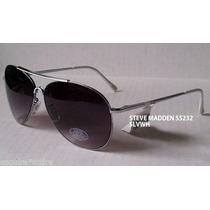 Lentes Gafas Steve Madden Aviador Negro Plateado Stock