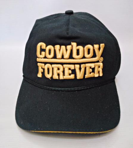7e97be214dbfe Boné Cowboy Forever Preto Brim Bordado Aba Couro Original - R  75