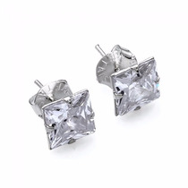 Brinco Masculino Quadrado Diamante Sintético Prata Pura 925