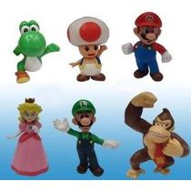 Popco Super Mario Juego De 6 Mini Figura Mario Peach Toad Lu