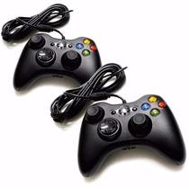 Kit Com 2 Controle Xbox 360 Computador Pc Com Fio Joystick