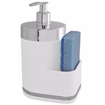 Dispenser Branco 400ml Sabão Líquido C/ Suporte Para Esponja