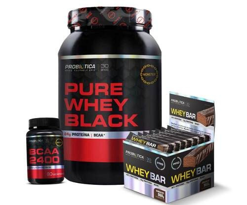 3868f37860 Pure Whey Black 900g + Barra Whey Bar + Bcaa - Probiótica - R  287 ...