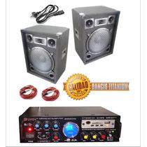 Amplificador Stereo Con Usb Ecco Entrada Microf Y 2 Bafles