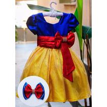 Vestido Fantasia Branca De Neve Luxo Princesas 1 Aos 14 Anos