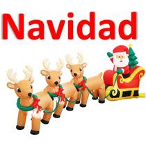Navidad Inflable Santa Claus Con Renos 2.43m Alto Promocion