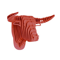 Toro Rojo Cabeza Decorativa Animal Decoracion Valchromat8m