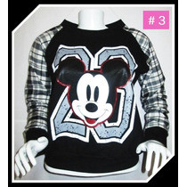 Polera Mickey Mujer Mangas Cuadros Regalo